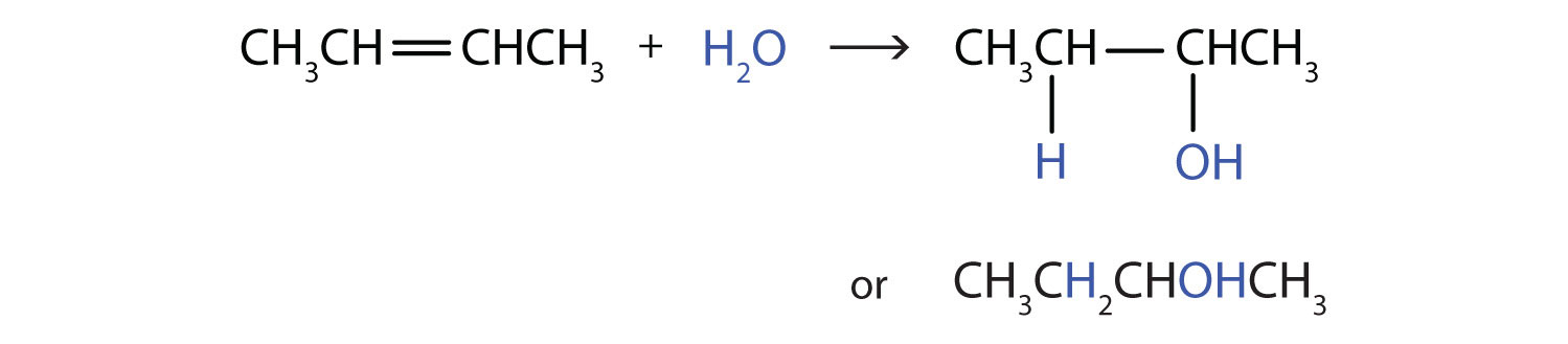 The addition of water to 2-butene produces 2-butanol (alcohol).