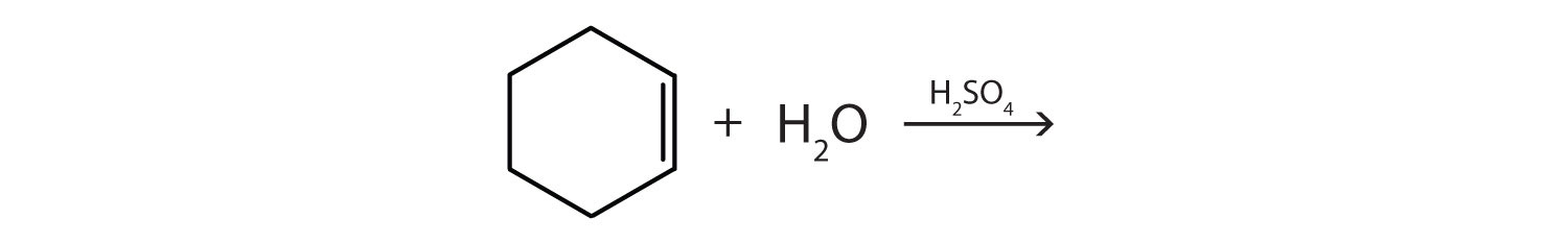 Complete the reaction between cyclohexane and water in the presence of Sulfuric acid.