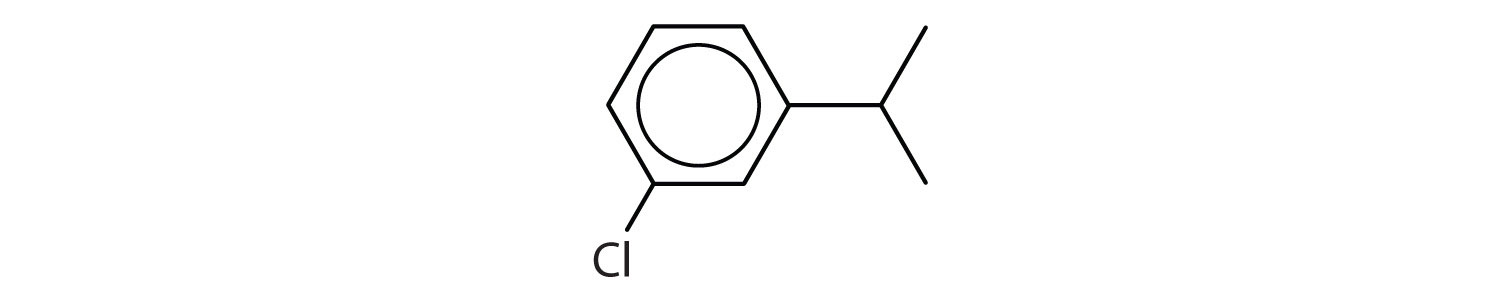 Line-angle formula of a 6-Carbon cyclic aromatic hydrocarbon with a radical isopropyl attached to Carbon one and one radical Chlorine attached to Carbon 3.