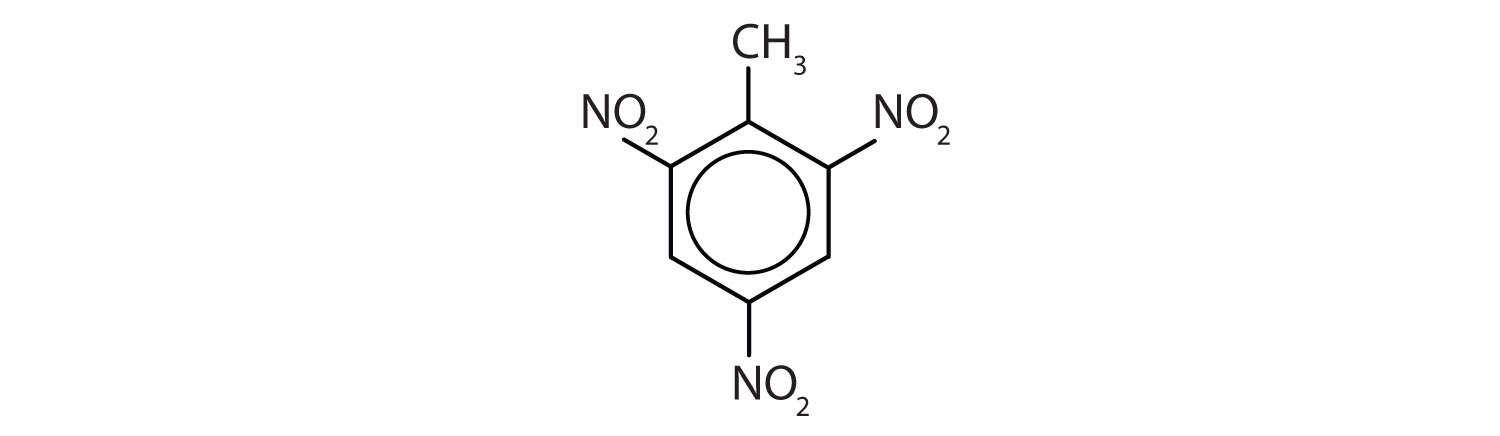 Formula of the explosive compound Trinitrotoluene (TNT).