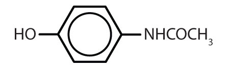 Condensed formula of organic aromatic compounds with common use: Acetaminophen.