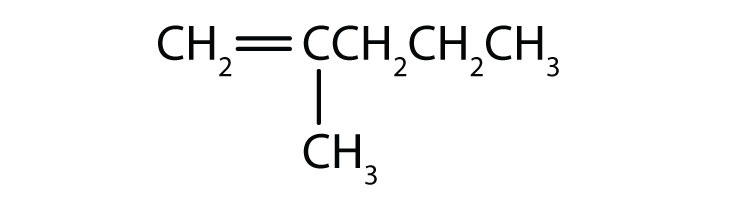 Condensed formula of 2-methyl-1-pentene. The position of the double bond and radical are indicated in the name.