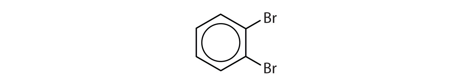 6-Carbon aromatic cyclic compound with two Bromine radicals on Carbons 1 and 2.