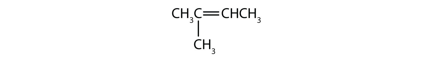 Condensed formula of 2-methyl 2-butene. The positions of the radical and the double bound are indicated in the name.