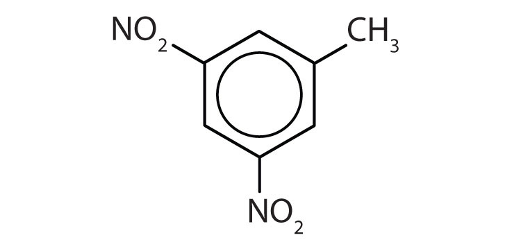 A toluene compound with two groups NO2 attached to Carbons 3 and 5.