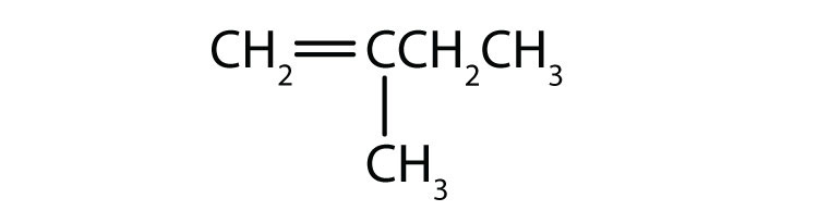 Condensed formula of 2-methyl-1-butene. The position of the double bond and radical are indicated in the name.