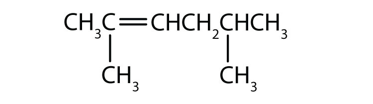 Condensed formula of 2,5-dimethyl-2-hexene. The position of the double bond and radical are indicated in the name.