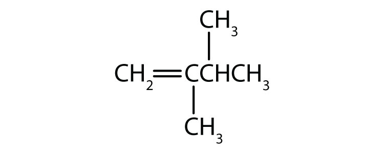 Condensed formula of 2,3-dimethyl-1-butene. The position of the double bond and radical are indicated in the name.