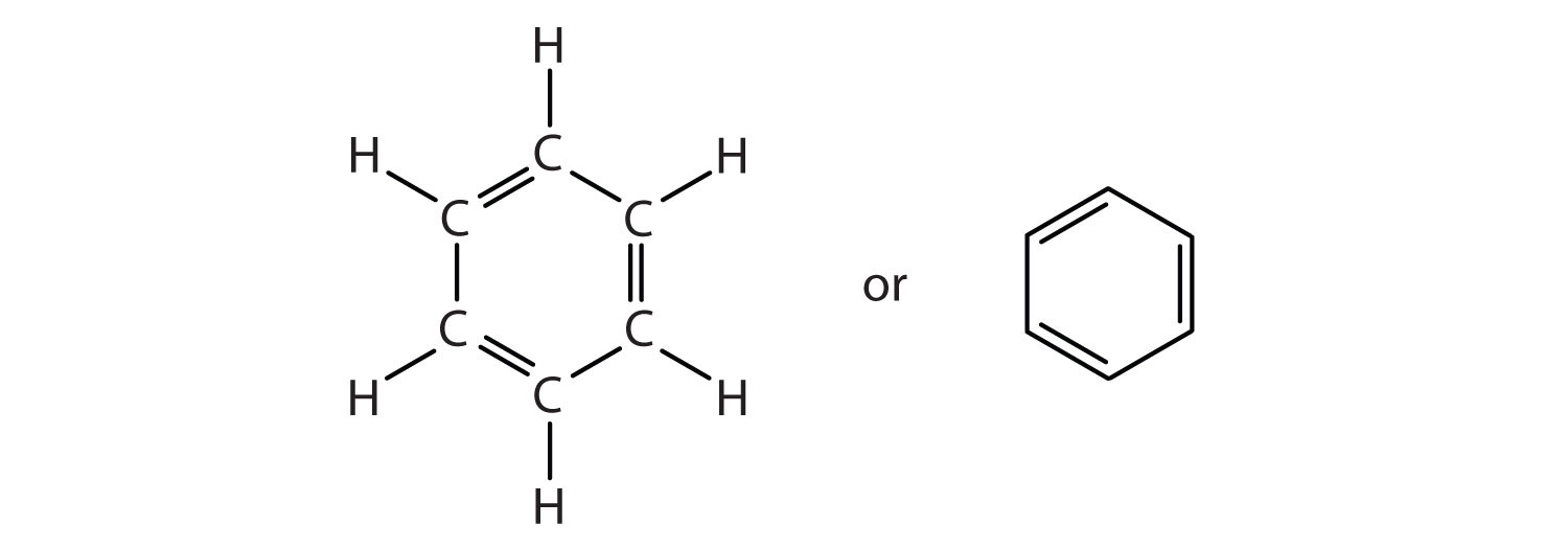 Condensed structure of benzene showing double bond between carbon distribution.
