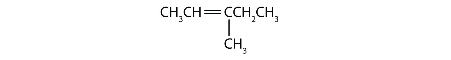 Condensed formula of 3-Methyl-2-pentene. The position of the double bond and radical are indicated in the name.