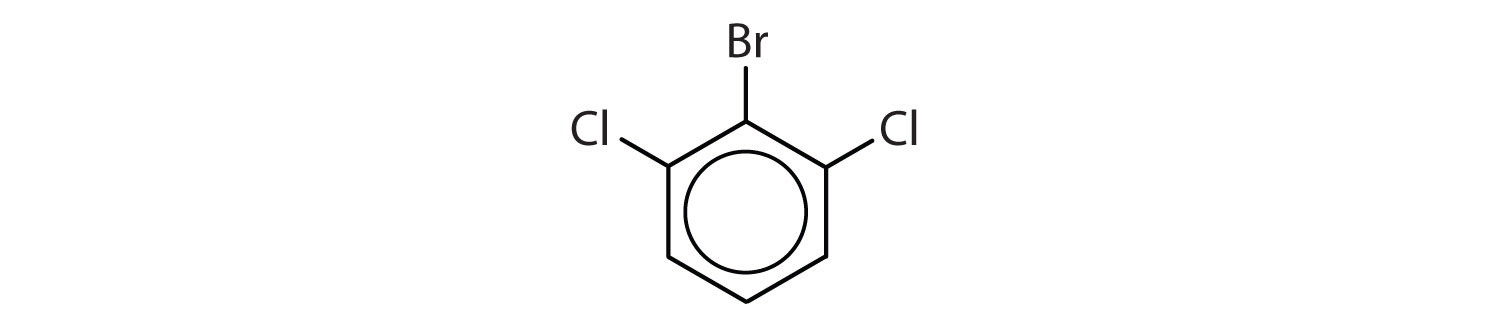 6-Carbon aromatic cyclic compound with two Chlorine radicals on Carbons 1 and 5 and a Bromine radical on Carbon 6.
