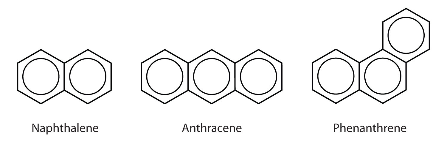 Examples of compounds formed by the fusion of aromatic benzene rings.