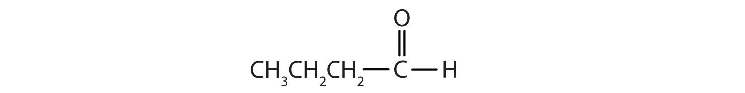 Condensed formula of a 4-Carbon aldehyde.