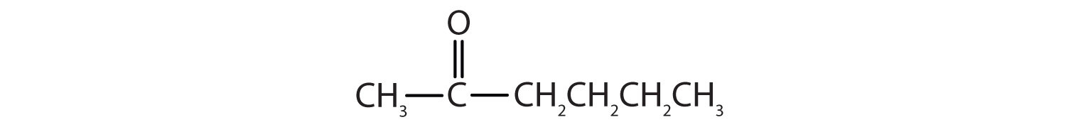 Condensed formula of a 6-Carbon ketone. The functional group is attached to Carbon 3.
