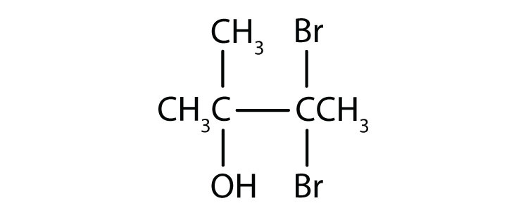 Condensed formula of a four-Carbon tertiary alcohol with a functional group attached to Carbon 2, and radicals methyl attached to Carbons 2 and 3 and a radical Bromine attached to Carbon 3.