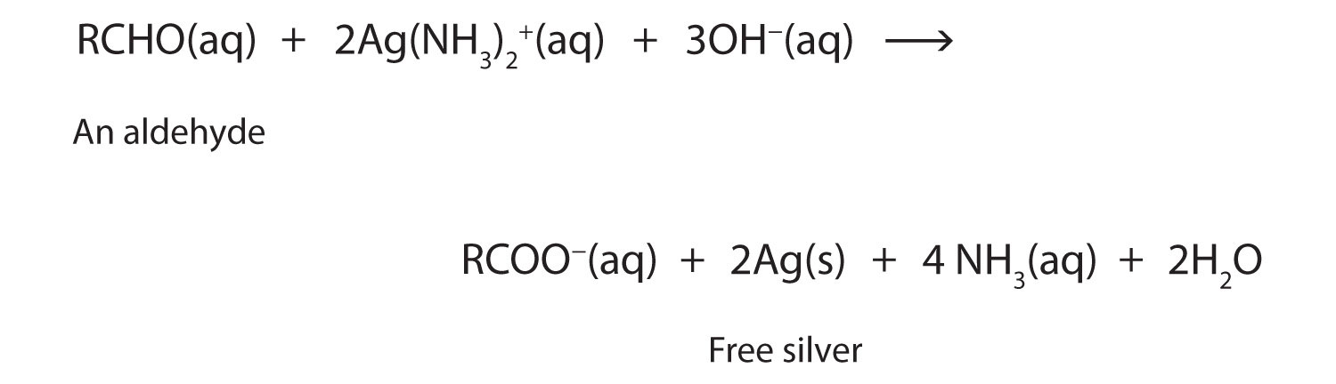 This Oxidation-Reduction reaction shows the oxidation of aldehyde and the reduction of Silver ions (Ag+) to Silver (Ag).