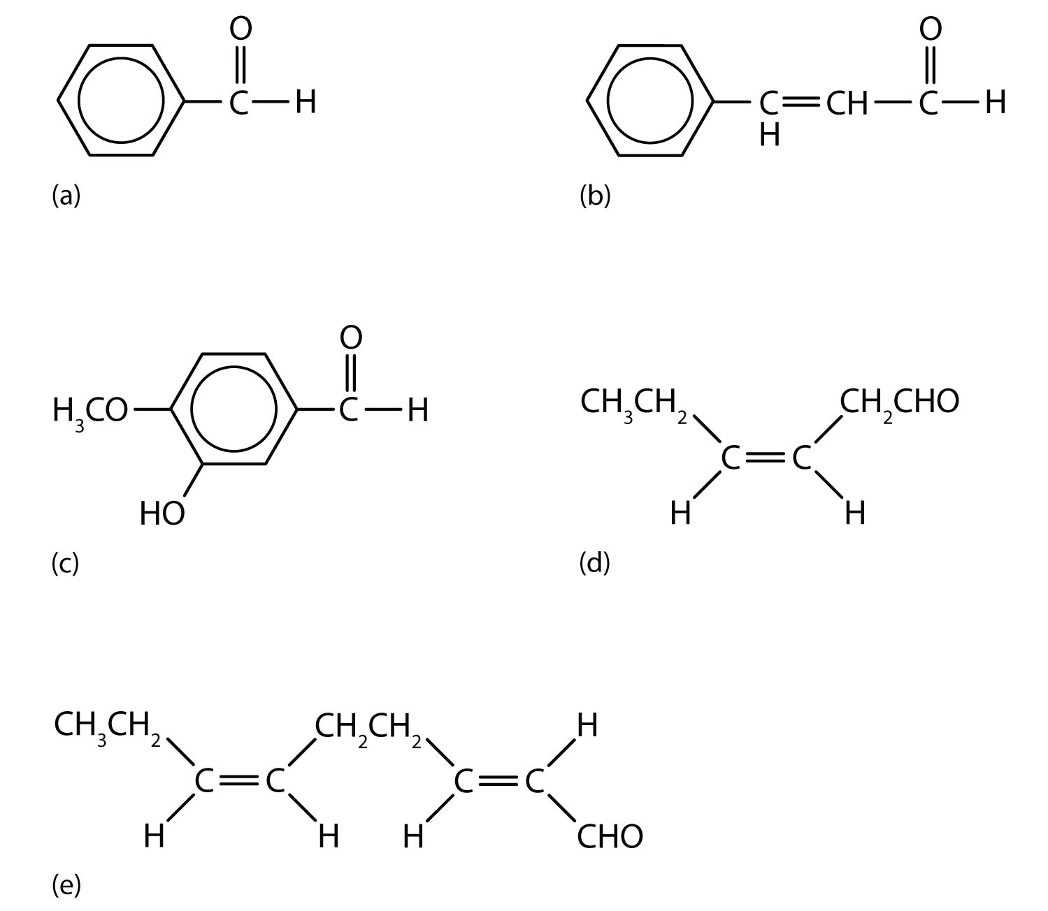Formula of aldehydes containing benzene rings (a,b c) and cis/trans configuration.