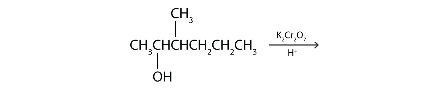 Six-Carbon secondary alcohol with functional group attached Carbon 2 and a radical methyl attached to Carbon 3 undergoing reaction in the presence of K2Cr207 and H+. What is the product?