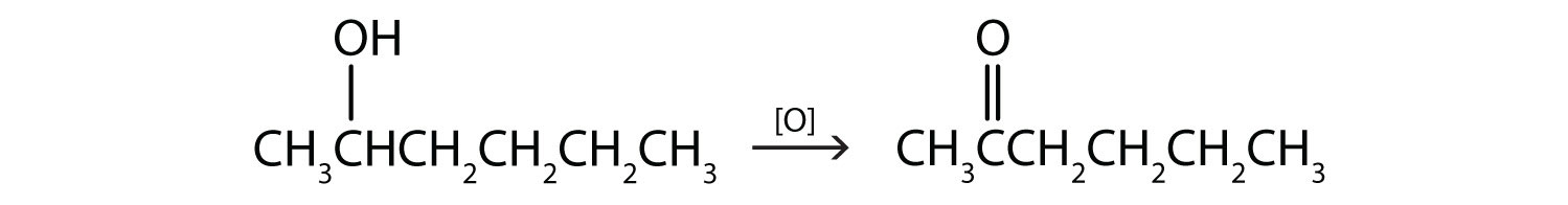 Six-Carbon secondary alcohol undergoing oxidation. The functional group is attached to Carbon 2. The reaction shows the product of this reaction. What is the product?