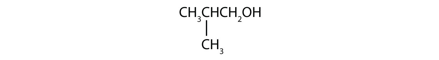 Condensed formula of a three-Carbon primary alcohol with a radical methyl attached to Carbon 2.