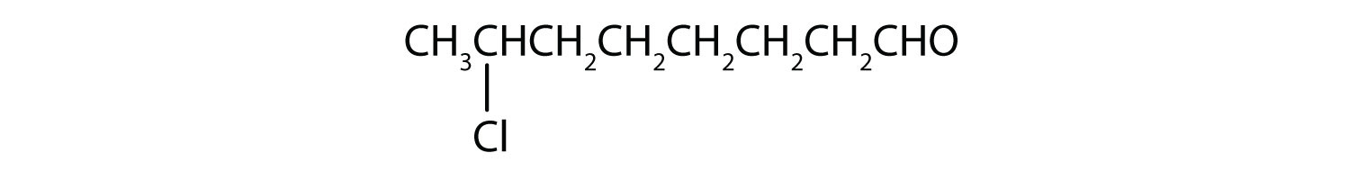 Condensed formula of a 8-Carbon aldehyde with a radical Chlorine attached to Carbon 2.