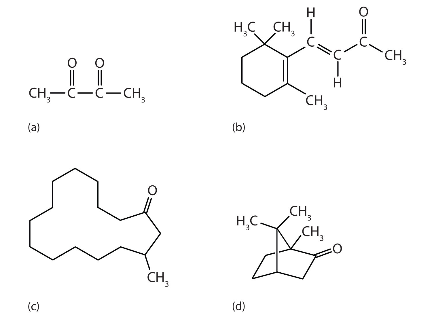 Examples of organic compounds with ketone structure.