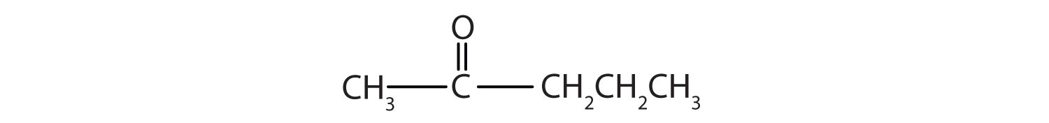 Condensed formula of a five-Carbon ketone with functional group in Carbon 2.