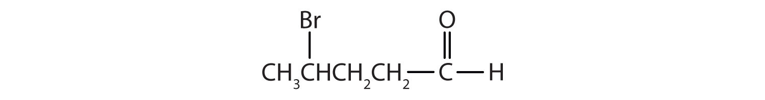 Condensed formula of a 5-Carbon aldehyde. There is a Bromine radical attached to Carbon 4.
