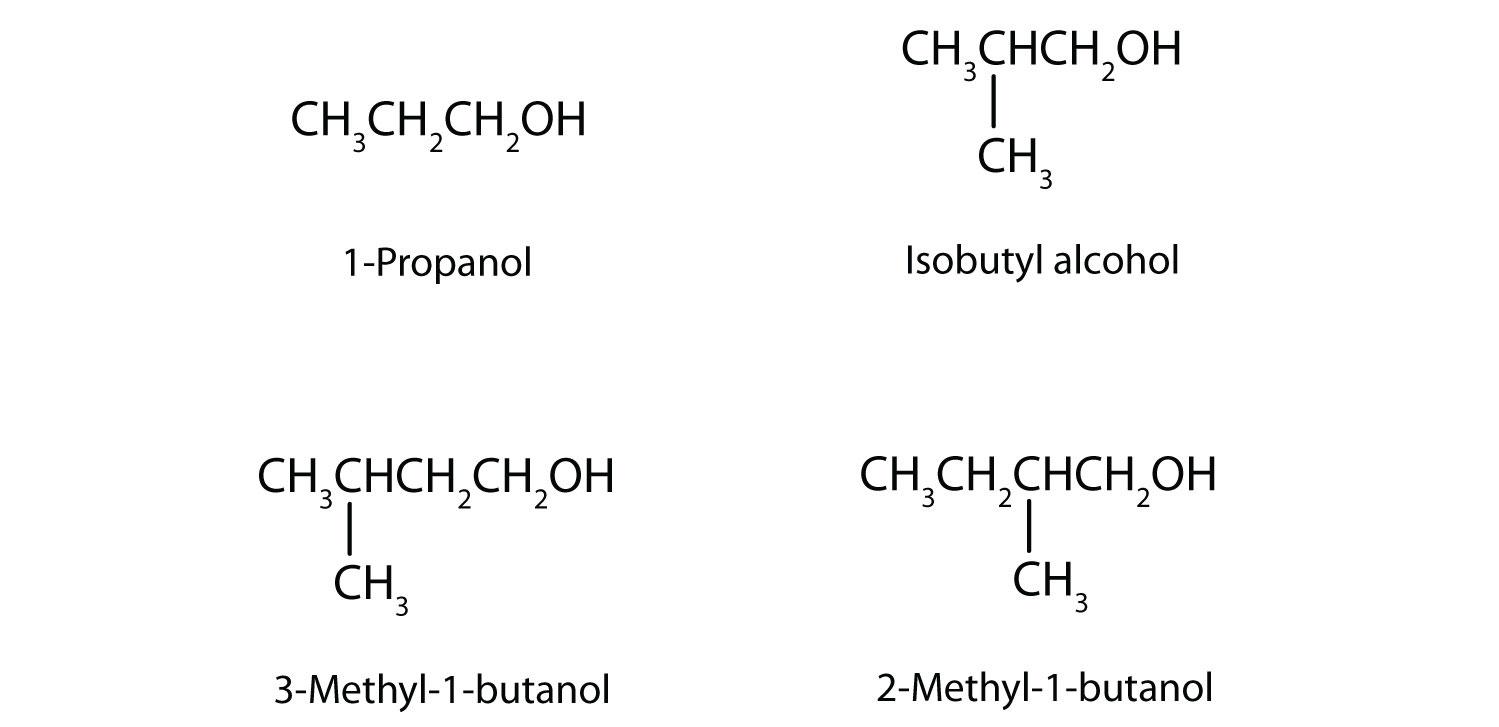 Condensed formula of 1-Propanol, Isobutyl alcohol, 3-Methyl-1-butanol and 2-Methyl-1-butanol.
