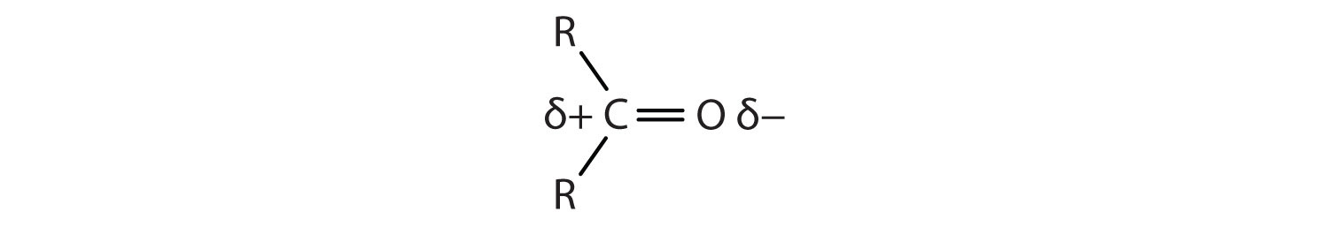 The Carbonyl group shows polarity as the Oxygen has more electronegativity that Oxygen. The shared electrons between these two atoms are closer to Oxygen.