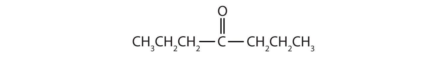 Condensed formula of a 7-Carbon ketone with functional group attached to Carbon 4.