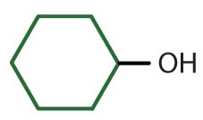 Line-angle formula of a 6-Carbon cyclic compound with a radical hydroxyl.