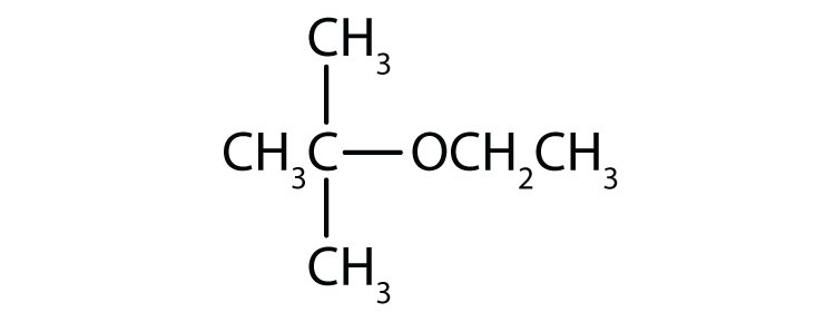 Condensed formula of an ether with two radicals ethyl attached to Oxygen. There is a radical methyl attached to one of the ethyl radical.