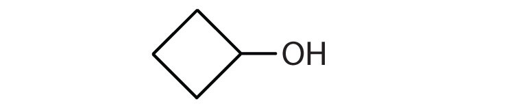 Line-angle formula of a four-carbon cyclic saturated hydrocarbon with a hydroxyl radical.