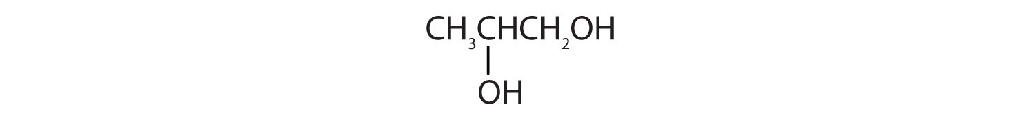Condensed formula of a 3-Carbon diol with hydroxyl functional groups attached to Carbons 1 and 2.