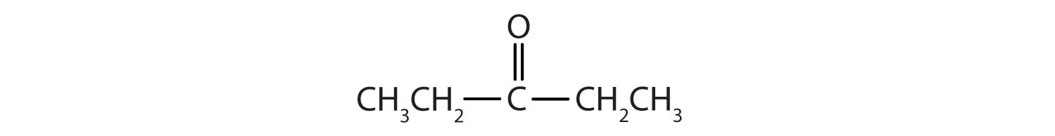 Condensed formula of a 5-Carbon ketone. The functional group is attached to Carbon 3.