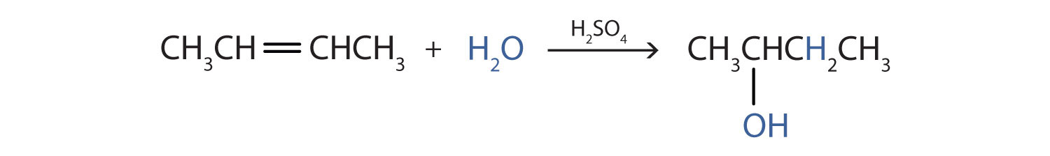 The addition reaction of water to 2-butene (alkene) produces the corresponding secondary alcohol 2-butanol.