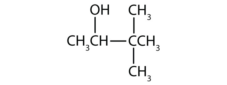Condensed formula of a four-Carbon secondary alcohol with a functional group attached to Carbon two and two radicals methyl attached to Carbon three.