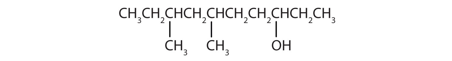Condensed formula of 6,8-Dimethyl-3-decane. The position of functional group -OH and radical methyl are indicated.