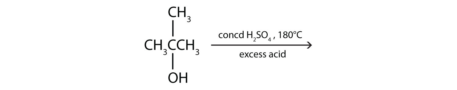 Three-Carbon secondary alcohol with a radical methyl attached to same Carbon. The figure shows the reaction in the presence of high temperature and excess acid.
