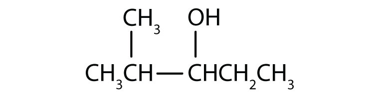 Condensed formula of a five-Carbon secondary alcohol with a functional group attached to Carbon 3 and a radical methyl attached to carbon 4.