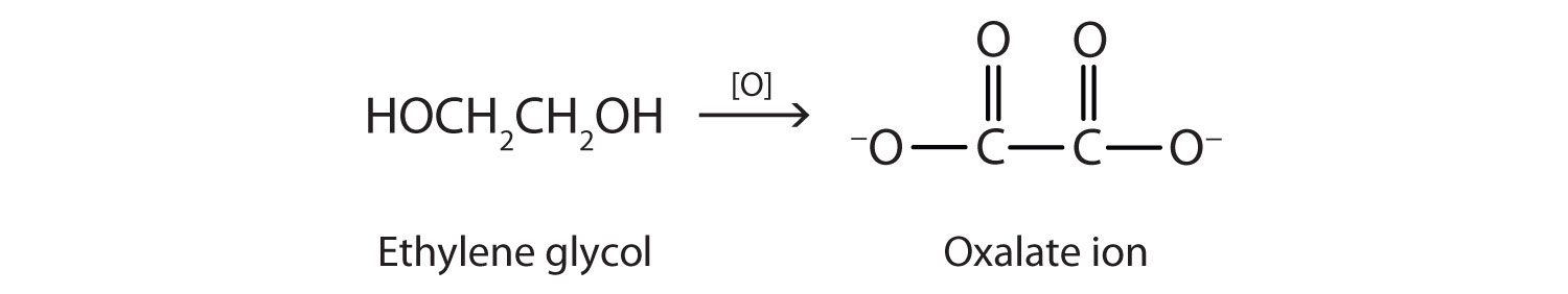 The metabolic oxidation of ethylene glycol produces oxalate ion.