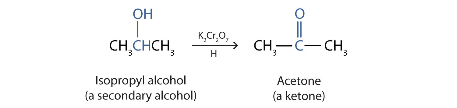 The oxidation reaction of secondary alcohols produces the corresponding ketone.