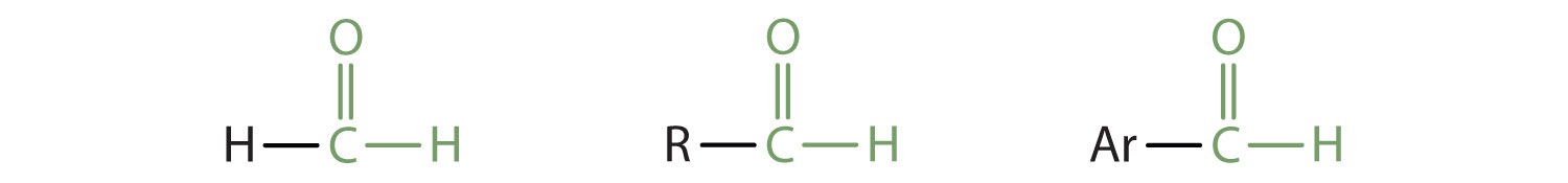 A primary Carbon is part of the Carbonyl group (Carbon bound to Oxygen by a double bond) in aldehydes. This Carbon is joined to Hydrogen and Alkyl radical or Aryl group (aromatic ring radical).