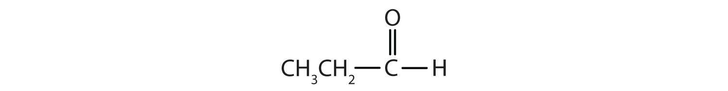 Condensed formula of a 3-Carbon aldehyde.