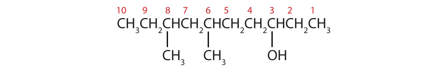 Condensed formula of 6,8-Dimethyl-3-decane. The position of functional group -OH and radical methyl are indicated. The numbers used for naming are indicated on Carbon.