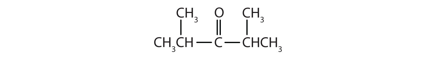 Condensed formula of a 5-Carbon ketone with radicals methyl attached to Carbons 2 and 4.