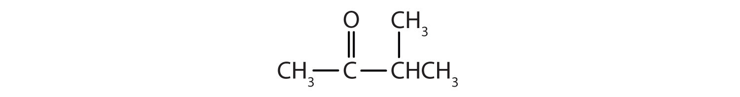Condensed formula of a 4-Carbon ketone with a radical methyl attached to Carbon 3.