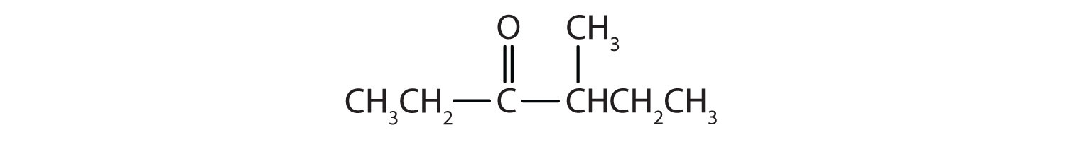 Condensed formula of a 6-Carbon ketone with functional group attached to Carbon 3 and a radical methyl attached to Carbon 4.