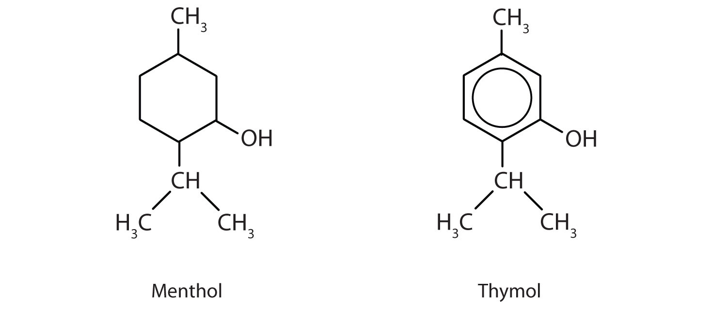 Formulas of Menthol and Thymol.